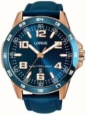 Lorus Mens Blue Leather Strap Blue Dial RH908GX9