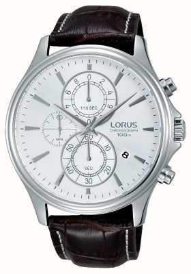 Lorus Mens Brown Leather Strap White Dial RM315DX9