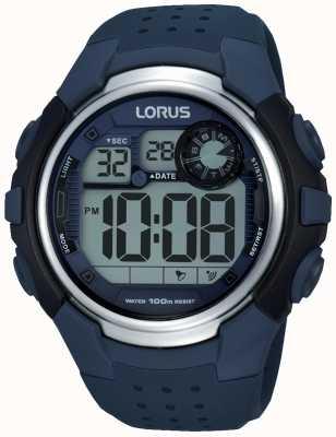 Lorus Mens Alarm Chronograph Blue Rubber Strap R2387KX9