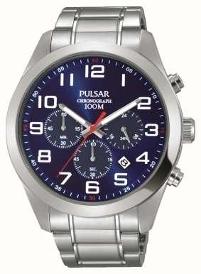 Pulsar Mens Chronograph Stainless Steel Blue Dial PT3813X1