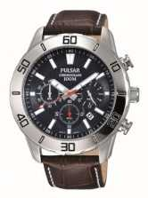 Pulsar Mens Chronograph Brown Leather Strap Black Dial PT3815X1