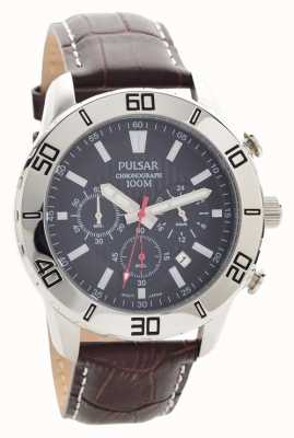 Pulsar Mens Chronograph Brown Leather Strap Black Dial PT3815X1