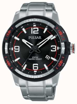 Pulsar Mens Stainless Steel Bracelet Black Dial PS9475X1