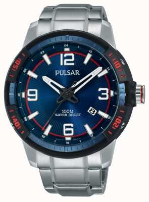Pulsar Mens Stainless Steel Bracelet Blue Dial PS9477X1