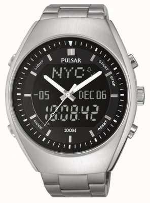Pulsar Mens Alarm Stainless Steel Black Dial PZ4011X1