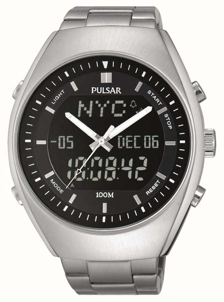 Pulsar Mens Alarm Stainless Steel Black Dial Pz4011x1 First Class