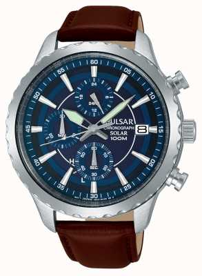 Pulsar Mens Solar Chronograph Brown Leather Strap Blue Dial PZ6015X1