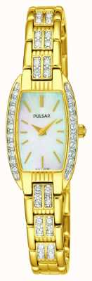 Pulsar Womens Gold Tone Stainless Steel White Mother Of Pearl Dial PEGG76X1