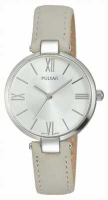 Pulsar Womens Taupe Leather Strap Silver Dial PH8245X1