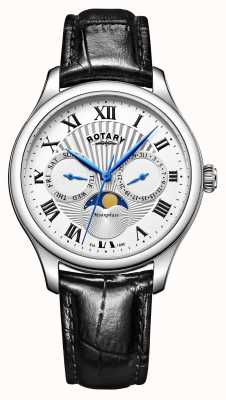 Rotary Mens Moonphase Black Leather Strap Silver Dial GS05065/01