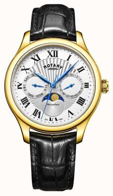 Rotary Mens Moonphase Black Leather Silver Dial Gold Tone Case GS05066/01