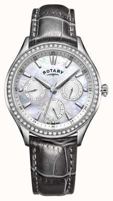 Rotary Womens Hampstead Grey Leather Strap Mother Of Pearl Dial LS05056/07