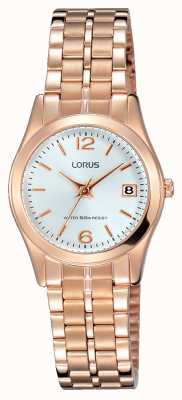 Lorus Womens Rose Gold Tone Stainless Steel White Dial RH732BX9