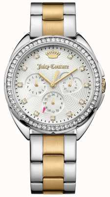 Juicy Couture Womens Capri Two Tone Stainless Steel Bracelet Silver Dial 1901481