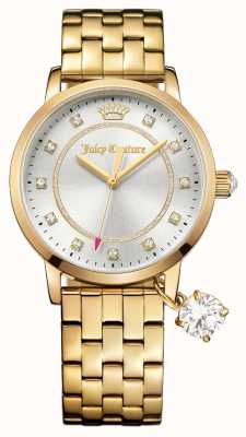 Juicy Couture Womens Socialite Gold Tone Stainless Steel Silver Dial 1901475