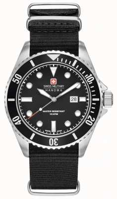 Swiss Military Hanowa Mens Sea Lion Black Nylon Strap Black Dial 6-4279.04.007.07