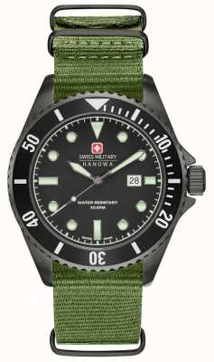 Swiss Military Hanowa Mens Sea Lion Green Nylon Strap Black Dial 6-4279.13.007