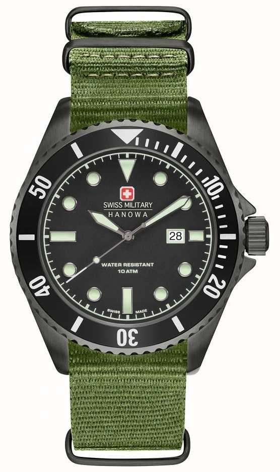 363152988750 Swiss Military Hanowa Mens Sea Lion Green Nylon Strap Black Dial 6 ...