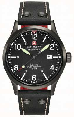 Swiss Military Hanowa Mens Undercover Black Leather Strap Black Dial 6-4280.13.007.07