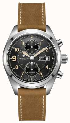 Hamilton Mens Khaki Field 42mm Automatic Brown Strap H71616535