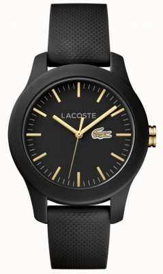Lacoste Mens 12.12 Black Rubber Strap Black Dial 2000959