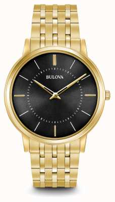 Bulova Mens Ultra Slim Gold Tone Stainless Steel Black Dial 97A127