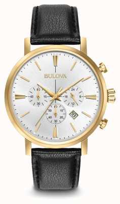 Bulova Mens Aerojet Chronograph Black Leather Strap Silver Dial 97B155