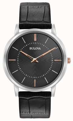 Bulova Mens Ultra Slim Black Leather Strap Black Dial 98A167