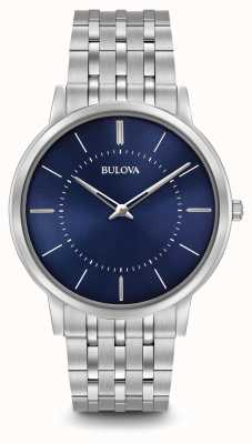 Bulova Mens Ultra Slim Stainless Steel Bracelet Blue Dial 96A188