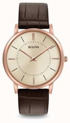 Bulova Mens Ultra Slim Brown Leather Strap 97A126