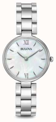 Bulova Womens Stainless Steel Bracelet Mother Of Pearl Dial 96L229