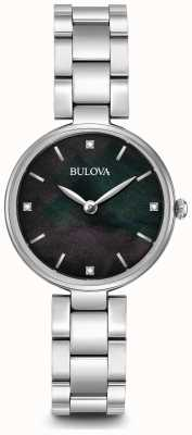 Bulova Womens Stainless Steel Bracelet Black Mother Of Pearl Dial 96S173