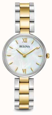 Bulova Womens Two Tone Bracelet Mother Of Pearl Dial 98L226