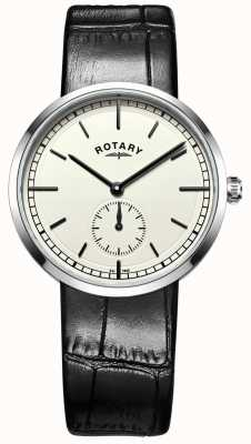Rotary Mens Canterbury Black Leather Strap Cream Dial GS05060/32