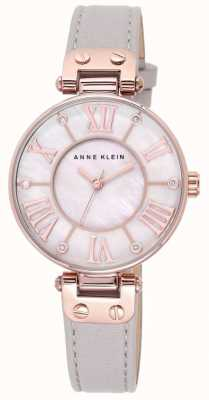 Anne Klein Womens Grey Leather Strap Mother Of Pearl Dial 10/N9918RGTP