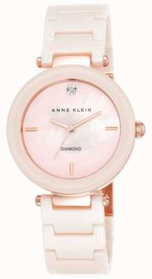 Anne Klein Womens Pink Ceramic Strap Pink Mother Of Pearl Dial AK/N1018PMLP