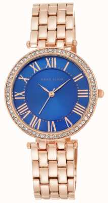 Anne Klein Womens Rose Gold Tone Bracelet Blue Dial AK/N2230CBRG