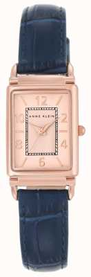 Anne Klein Womens Blue Leather Strap Rose Gold Dial AK/N2394RGNV