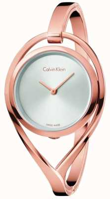 Calvin Klein Womens Light Small Rose Gold Tone Bangle Silver Dial K6L2S616