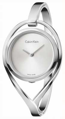 Calvin Klein Womens Light Small Stainless Steel Bangle Silver Dial K6L2S116