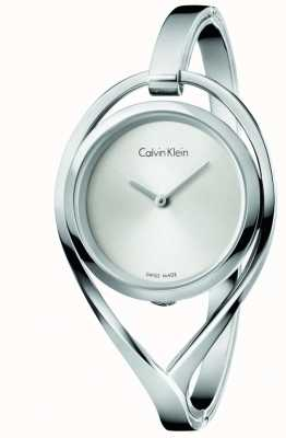 Calvin Klein Womens Light Medium Stainless Steel Bangel Silver Dial K6L2M116