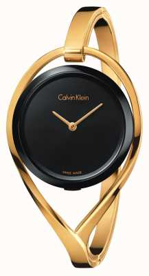Calvin Klein Womens Light Small Gold Tone Bangle Black Dial K6L2S411