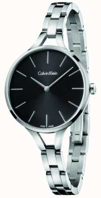 Calvin Klein Womens Graphic Stainless Steel Bracelet Black Dial K7E23141