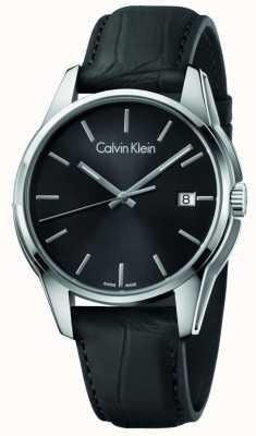 Calvin Klein Mens Tone Black Leather Strap Black Dial K7K411C1