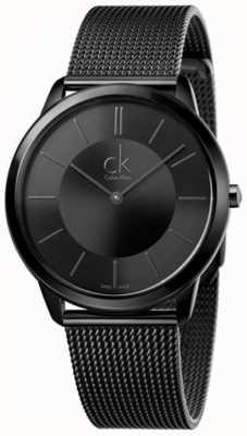 Calvin Klein Mens Minimal Black Mesh Strap Black Dial K3M214B1