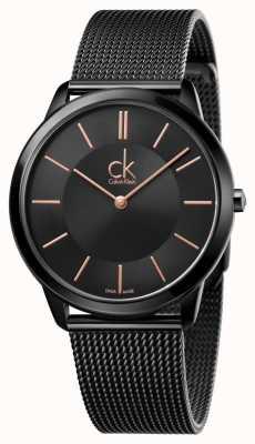 Calvin Klein Mens Minimal Black Mesh Strap K3M21421