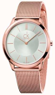 Calvin Klein Mens Minimal Rose Gold Tone Mesh Silver Dial K3M21626