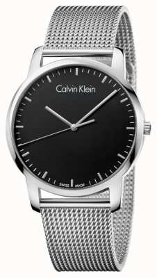 Calvin Klein Mens City Stainless Steel Mesh Strap Black Dial K2G2G121