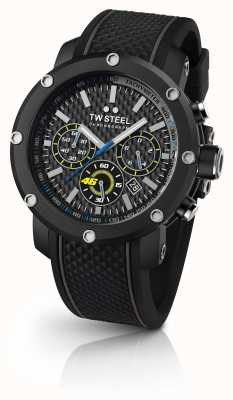 TW Steel Mens Black Rubber Strap Black Chronograph Dial TW937