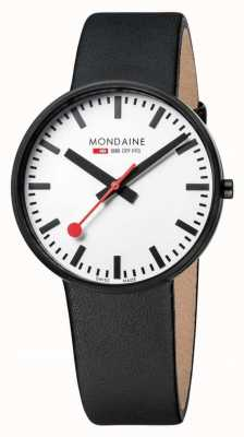 Mondaine Mens Giant Black Leather Strap White Dial A660.30328.61SBB
